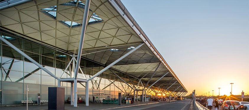 The terminal building at London Stansted Airport