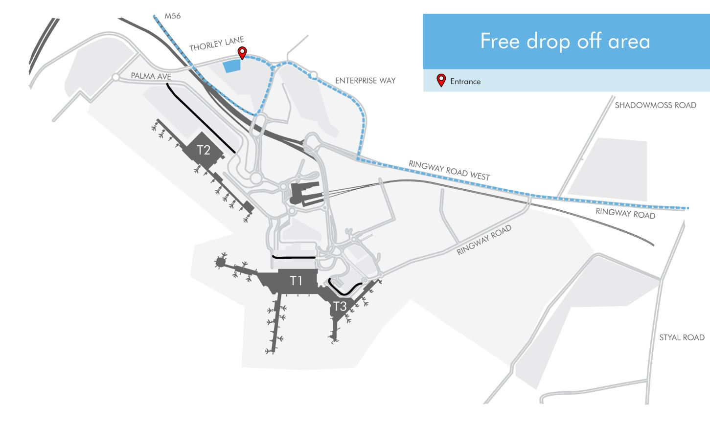Manchester Airport Route Map Pick Up & Drop Off Information & Charges | Manchester Airport