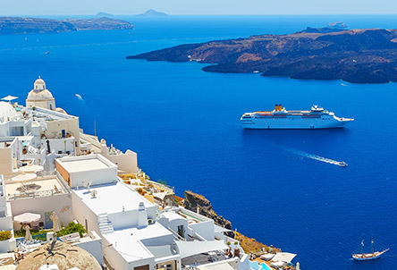 A cruise ship in the Greek Islands