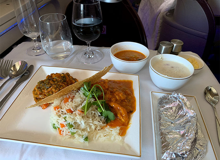 Delicious business class meal on board Jet Airways' flight from Manchester to Mumbai