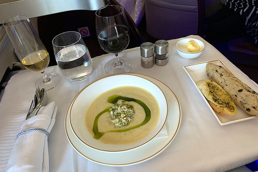 Celeriac and pear soup on board Jet Airways