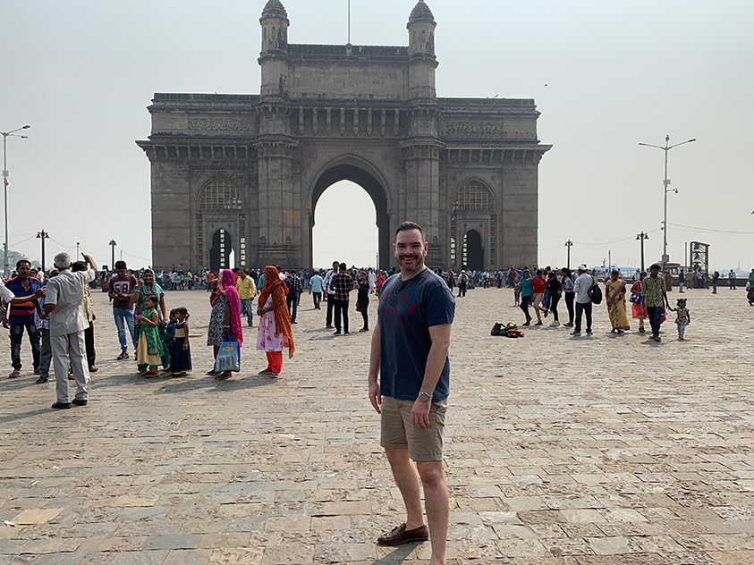 Seb Thompson at the Gateway of India, Mumbai