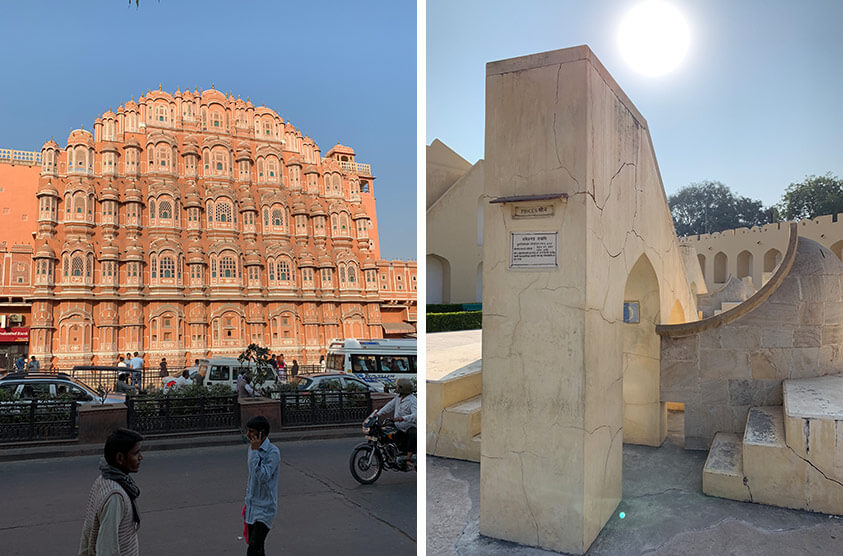 Beautiful buildings and the Jantar Mantar outdoor observatory in Jaipur