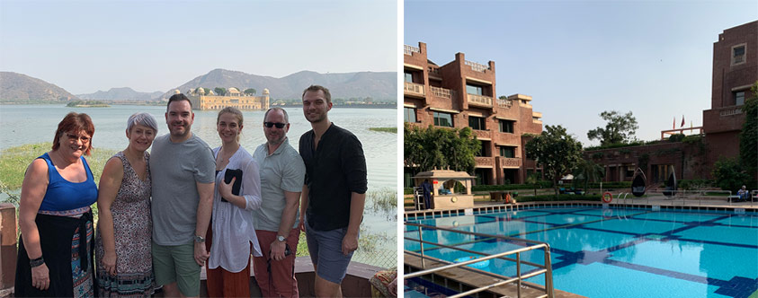 Our final group photo at the Jal Mahal (Water Palace) and relaxing at the pool at the ITC Rajputana hotel