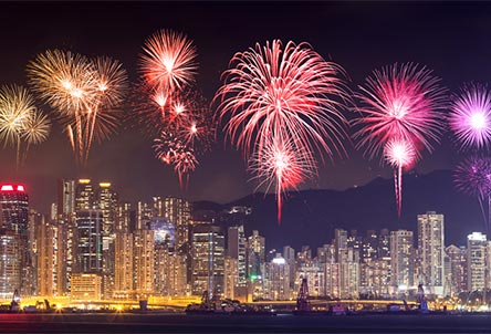 Lunar New Year fireworks in Hong Kong