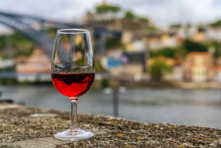 Glass of wine in Porto, portugal