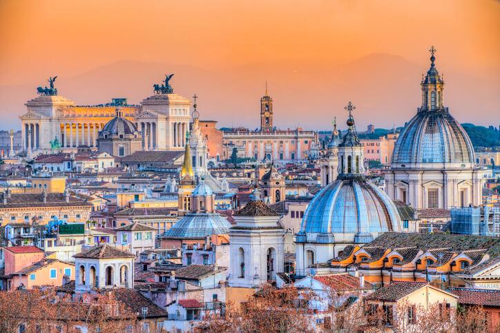 The skyline of Rome, Italy